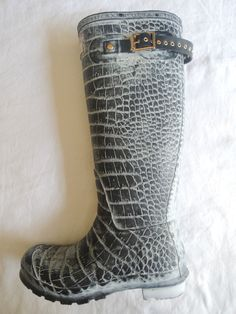 ~ HUNTER X JIMMY CHOO GRAY CROCODILE RUBBER RAIN BOOTS (RAINY DAY SPECIAL!) ~ 8 #JIMMYCHOOXHUNTER #Boots