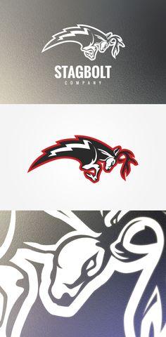 Stagbolt logo design on behance graphicdesign логотип, дизайн. Team Logo Design, Sport Design, Fantasy Logo, Lightning Logo, Sports Team Logos, Esports Logo, Good Day Song, Logo Sticker, Animal Logo