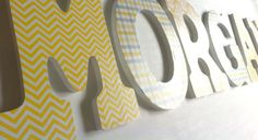 Custom 9 hanging nursery wooden wall letters in by candywall, $12.00 Wooden Wall Letters, Letter Wall, Wooden Walls, Grey Baby Shower, Baby Sprinkle, Charcoal Gray, Nursery, Yellow, Unique Jewelry
