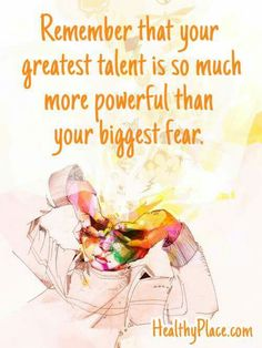 Positive Quote: Remember that your greatest talent is so much powerful than your biggest fear. Great Quotes, Quotes To Live By, Me Quotes, Motivational Quotes, Funny Quotes, Inspirational Quotes, Positive Words, Positive Quotes, Journal Quotes