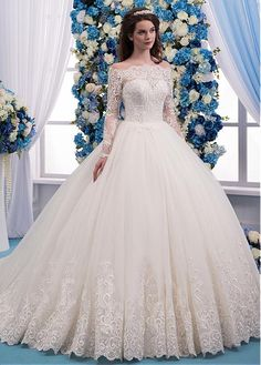 Buy discount Romantic Tulle Bateau Neckline Ball Gown Wedding Dress With Lace Appliques & Beadings at Laurenbridal.com