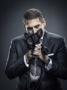 Jonah Hill and Carmela (French Bull dog) - by Michael Muller