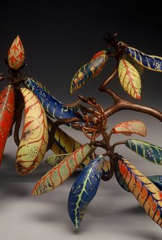Ceramics, Michael Sherrill, Artist, Shining Rock Rhododendron, 2000  I love the colors in this piece!