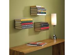 Floating books above the desk ...very clever
