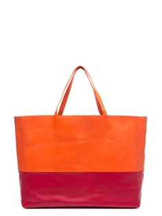 Orange and Red Lambskin Horizontal Bi Cabas Tote from Vintage Handbag Steals on Gilt