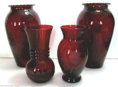 Classic Anchor Hocking Royal Ruby Vases – Lot of 4