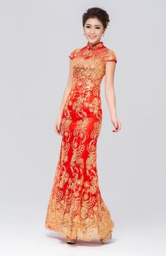 Traditional gold red qipao,flower Chinese chi-pao wedding dress,stand-up collar red Cheongsam gown, long red evening dress, Chinese qipao