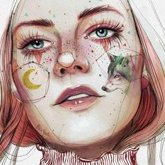 These drawing are beautiful Art And Illustration, Illustrations, Portrait Illustration, Kunst Inspo, Art Inspo, Watercolor Portraits, Watercolor Paintings, Pretty Art, Art Plastique