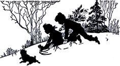 Vintage Sledding Silhouette - Adorable! - The Graphics Fairy