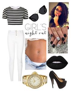 """Girls Night Out"" by stylist104 on Polyvore featuring Topshop, New Look, Christian Louboutin, Invicta, Lime Crime, Quay and girlsnightout"