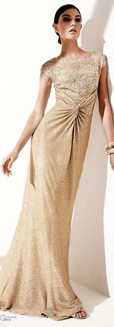 White and Gold Wedding. Gold Bridesmaid Dress. Elegant and Glamorous. David Meister ● Gold Shimmery Lace Gown