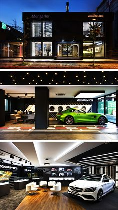 A Strong Presentation of Space: Mercedes Benz AMG Digital Showroom Cafe Interior Design, Showroom Design, Mercedes Benz Amg, Container Shop, Istanbul, Cool Garages, Car Barn, Garage Renovation, Modern Garage