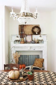 Thoughts from Alice: Rustic Fall Mantel Vignette with Bohemian Touches