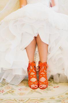 Romantic + Vintage-Inspired Vancouver Summer Wedding - Bright orange lace-up sandals: Photography : Whitney Krutzfeldt Read More on SMP: www. Orange Wedding Shoes, Burnt Orange Weddings, Satin Wedding Shoes, Bridal Wedding Shoes, Bridal Sandals, Wedding Shoes Heels, Prom Heels, Bride Shoes, Lace Up Sandals
