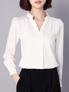 Blouses & Shirts,White,Red,Pink,Black,Cotton,Polyester,Chiffon,Long Sleeve,V neck,Shift,Plain,Buttoned,Spring/Fall,18~24,25~34,35~44,Non-stretchy,Elegant,Mid-weight,Plus Size