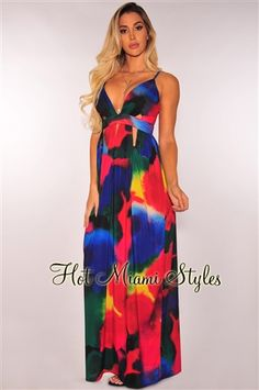Rainbow Watercolor Cut Out Maxi Dress