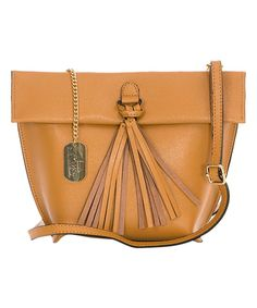 Take a look at this Tan Tassel Leather Crossbody Bag today!