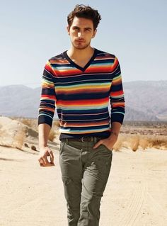 Concerned about colour? consider Missoni jumpers and khaki pants. Great match with Tan shoes.