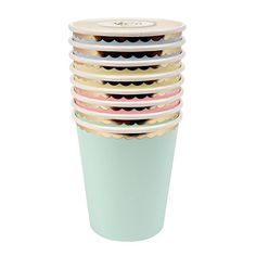 MULTI-COLOR PASTEL PARTY CUPS Lovely mint green, baby blue and yellow and soft pink will add some soft feminine flair to your Spring celebration.  Accented in shiny gold scalloped edge.  Bonjour Fete - Boutique party supplies in Montreal Canada - ships to all North America