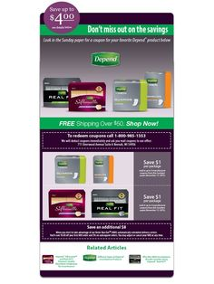 Don't miss out on the savings!  Look in the Sunday paper for a coupon for your favorite Depend product below. #incontinence #incontinenceproducts #depend #dependproducts #coupon #sundaypaper