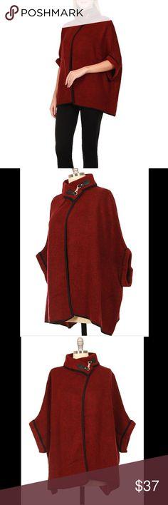 Wine  Classic Poncho Knit Poncho ! Acrylic ! One size ! Hand wash, Dry Flat! Sweaters Shrugs & Ponchos