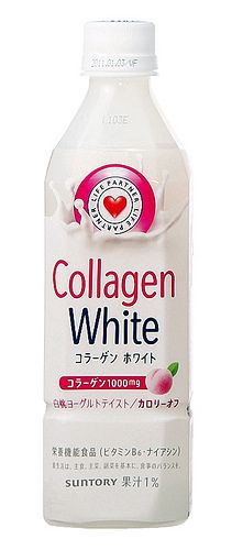 Collagen White from Suntory is a white peach and yogurt flavoured drink. Part of Suntory's 'Life Partner' series of health and isotonic beverages, it has 1,000mg of collagen. (Courtesy Beverage Japan