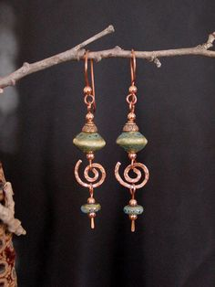 Southwest Spiral Copper Dangle Earrings CE01 by PLJohnsonGlassArt, $25.00
