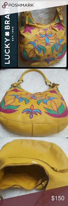 Lucky Brand Leather Hobo Purse Lucky Brand Leather Hobo Style Bag in Vibrant Colors of Yellow, Pink, Blue, and Green! Buttery Soft Leather with Front Design Intricate Stitching Details!   Rare Design with Brass Tone Hardware, Zipper Pull Tassel Closure Opens to Fully Lined Interior with Zipped and Slip Pockets, Approx Size 14x10x3.5 Inches, Excellent Used Condition! Lucky Brand Bags