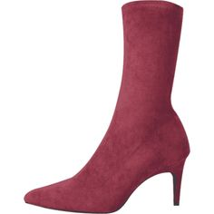 Stiletto Heel Pointed Toe Mid Calf Boots (427.075 IDR) ❤ liked on Polyvore featuring shoes, boots, red stilettos, red mid calf boots, mid calf boots, stiletto high heel boots and pointed toe high heels stilettos