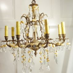 Golden Hued Vintage Chandelier by Isle of Ginger and Light