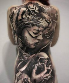 Amazing 3D full back tattoo for women - 100 Awesome Back Tattoo Ideas