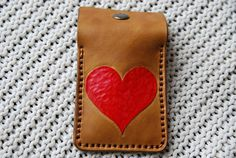 Handmade veg tan leather card holder /wallet Valentine's