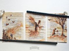 Inspired by the Tale of the Three Brothers, this original triptych was painted on three actual book pages from a salvaged copy of The Sorcerers Stone. Intricate layers of watercolor depict the invisibility cloak being handed down to the next generation; the passage excerpted on the pages ties it all together, referencing this Deathly Hallow being used by Harry Potter himself. Printed on artist quality card stock, the triptych is 16.5 x 7.5 in total, ready for framing or display.