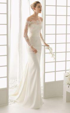 Robe de mariée sirène avec dentelle manches longues