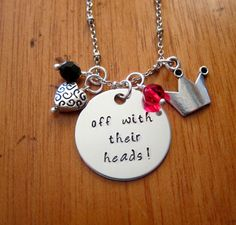 "Alice in Wonderland Inspired Necklace. Villain Red Queen of Hearts ""Off With Their Heads!"". Silver colored.  Swarovski Elements crystal. by WithLoveFromOC (item: 201631231)"