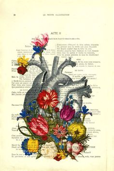 Heart with Flowers Vintage Book Art Print by Madame Memento