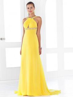 Sheath/Column High Neck Chiffon Daffodil Long Prom Dresses/Evening Dress With Beading #USALF116