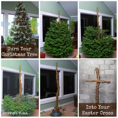 How to Turn a Christmas Tree into an Easter Cross - This is a must do for next year!! Meaningful Mama