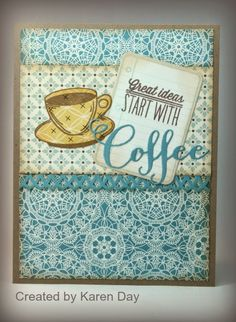 Handmade card by Karen Day using the Coffee set, Notebook Plain Jane and Coffee Word Die from Verve. #vervestamps #nationalcoffeeday #coffeeloversbloghop