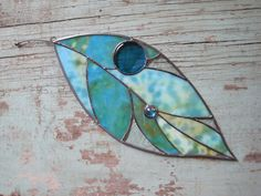 Stained Glass Large Leaf Window Ornament. $85.00, via Etsy.