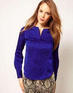 Karen Millen Pocket Shirt in Cobalt Blue