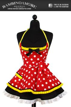 Cute!    Pin Up MINNIE MOUSE Double Skirt Apron  Limited by bambinoamore, $71.95