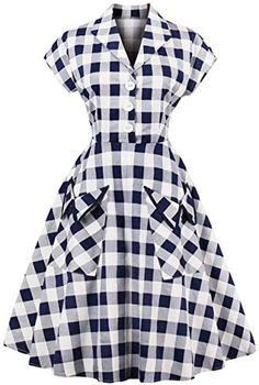 online shopping for ZAFUL Women's Vintage Cap Sleeve V Neck Plaid Swing Dress With Pockets from top store. See new offer for ZAFUL Women's Vintage Cap Sleeve V Neck Plaid Swing Dress With Pockets Retro Vintage, Plus Size Vintage, Vintage Style, 1950s Style, Vintage Inspired, Vintage Fashion, Vintage Kitchen, Retro Style, French Vintage