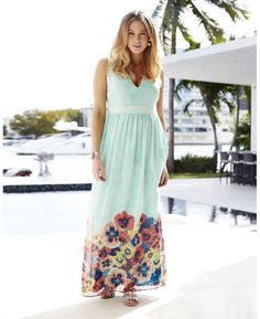 Plunge Neck Printed Maxi Dress from Simply Be.