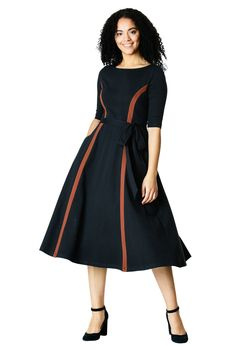 555664f3ef8 Metal zip front colorblock cotton knit dress  eShakti