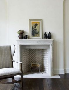 #fireplace herringbone tiles, love.... if we ever change our fireplace...