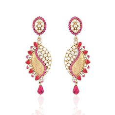 I Jewels Womens Tradtional Gold Plated Kundan  Stone Earrings Pink * For more information, visit image link.