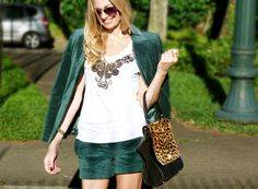 my little way: Meu Look | Conjuntinho Veludo Verde Esmeralda