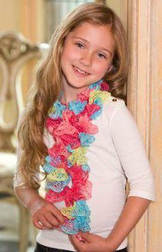 Sweet Ruffle Scarf Free Crochet Pattern from Red Heart Yarns
