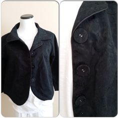 Final SalePattern black cropped jacket Cute cropped light jacket, oversized buttons, side pockets, detail design at back. Great condition. Jackets & Coats